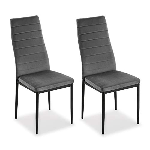 Mimma 21940010 Set de Dos sillas de Comedor de Terciopelo Valentina, Hierro, Gris Oscuro, 96 x 53 x 43 cm