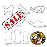 KeepingcooX Set di formine per biscotti per bambini | 4 pezzi dinosauro, 1 cane e 3 pezzi tagliapasta per ossa - stampo per biscotti in acciaio inossidabile