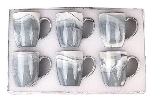 Marble Coffee Mugs Set of 6 Coffee Mug Set of 6 Marble Mug Set of 6 Mug Sets Coffee Tea Milk Cocoa 6 Pack Gray marble Mug Set with Gift Box