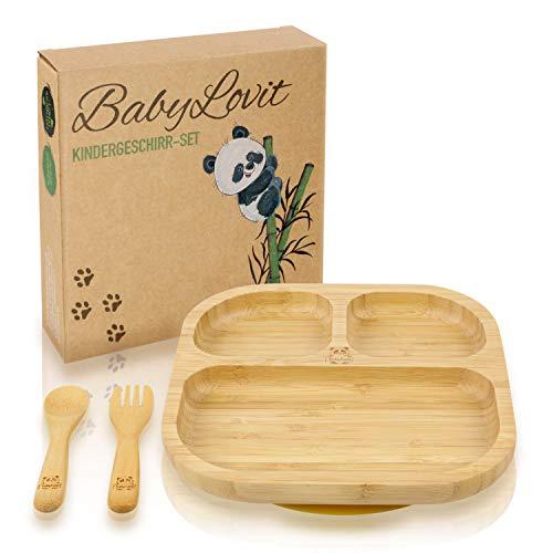 Umweltfreundlicher Kinder & Baby Teller aus Bambus | Mit rutschfestem Saugnapf inkl. Löffel, Gabel & Geschenkbox | Kindergeschirr für Mädchen & Jungen