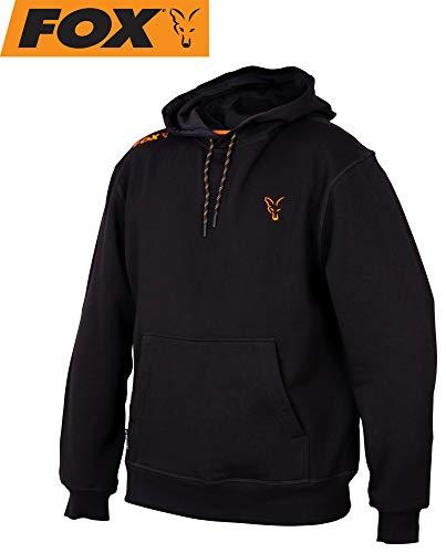 Fox Collection Black Orange Hoody - Angelpullover für Karpfenangler, Pullover für Angler, Hoddie, Kapuzenpulli, Kapuzenpullover, Größe:XXL
