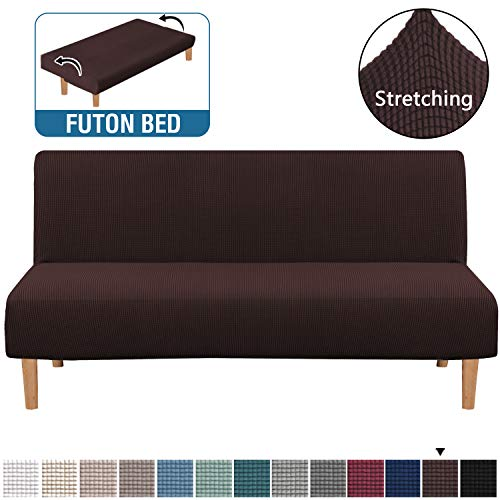 Armless Futon Cover Stretch Sofa Bed Slipcover Protector Elastic Feature Rich Textured Lycra High Spandex Small Checks Jacquard Fabric Sofa Shield Futon Cover, Machine Washable, Chocolate