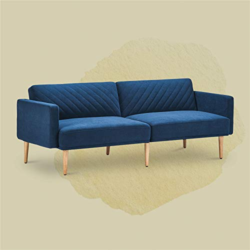 Velet Futon Sofa Bed Modern Convertible Sleeper Sofa Loveseat Sofa Couch for Living Room,Bedroom Small Space -Blue