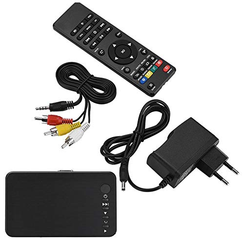 Socobeta Reproductor Multimedia HD Reproductor de Audio y Video HDMI 1080P con Control Remoto IR 110V-240V(Enchufe de la UE)