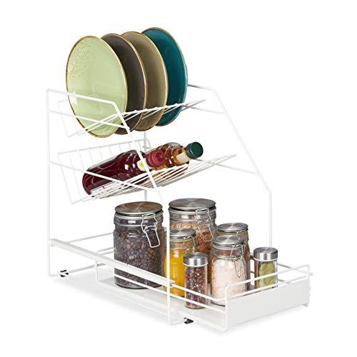 Relaxdays Organizador de Armario de Cocina, Extensible, Independiente, más Espacio de Almacenamiento, estantería de Cocina de 39,5 x 25 x 40 cm, Color Blanco