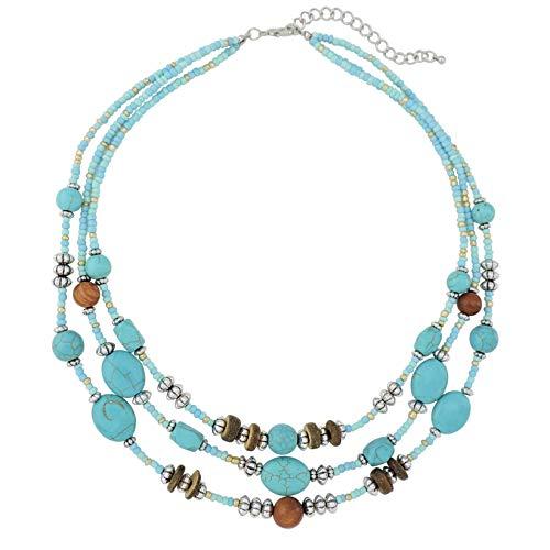 COIRIS Collar de perlas de turquesa de imitación para mujer con pendientes