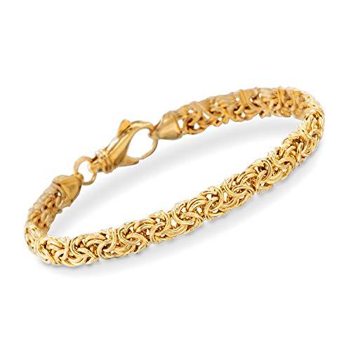 Ross-Simons 18kt Gold Over Sterling Silver Small Byzantine Bracelet