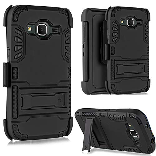Core Prime Case, Customerfirst, [Heavy Duty] Armor Holster Defender Full Body Protective Hybrid Case Cover with Belt Clip for Samsung Galaxy Core Prime G360 Free emoji keychain (Armor Black)