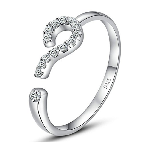 925 Silver Plated Platinum Genuine CZ Question Mark Symbol Women Open Band Ring