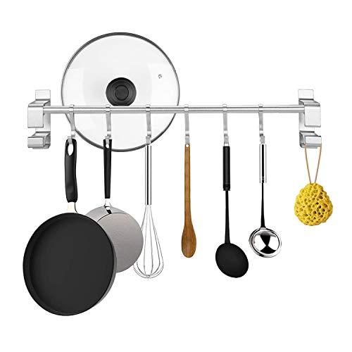 KINLO Baldas Pared Adhesiva Sin Perforar Colgador NO SE OXIDARÁ de Aluminio con 6 Ganchos para Utensilios de Cocina/Baño...