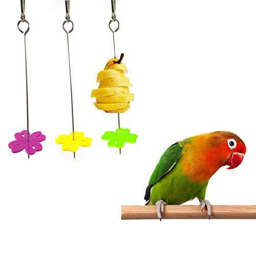 3 Piezas Pájaros para Verduras Comedero,Titular Fruta Pájaro,Herramienta para Alimentar a Loros,Juguete Comedero para Pájaros,Accesorios Jaula Pájaros Juguete de Aves Herramienta de Tratamiento