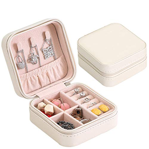 TOPmountain Jewellery Box Synthetic Leather Travel Case One Layer for Earrings Bracelets Rings Watches Case Organizer and Jewellery Storage White