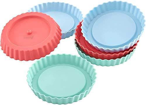 Lurch 83016 FlexiForm Tortelett 6er Set / 6 Backförmchen für 6 kleine Küchlein, aus 100 % BPA-freiem Platin Silikon, pastel mix