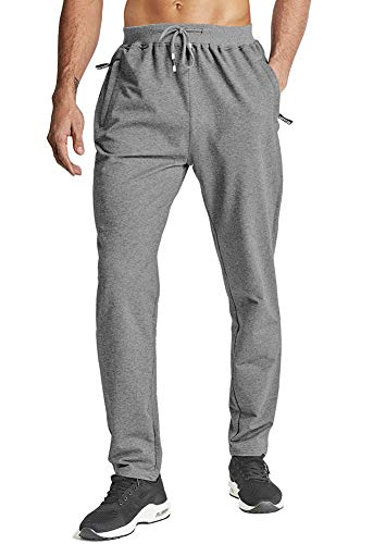 Wohthops Mens Casual Pants with Elastic Waistband Straight Fit Pants Men Chino Outdoor Pants Lightweight with Zipper Pockets Dark Gray, 38