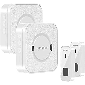 Cambond Waterproof Wireless Doorbell with 2 Receives Plug in 1 Battery Operated Push Button Silver 500 Feet Operating Range 58 Ringtones 4 Volume Level LED Flash for Office Home Business Door Bell