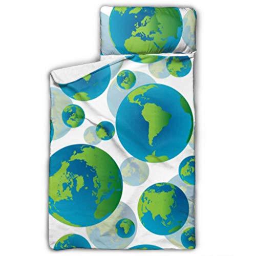 Abstrakte globale Erde Globen Schlafsack Reisen Mädchen Kleinkind Nickerchen Matte mit Decke und Kissen Rollup Design ideal für Vorschule Kindertagesstätte Sleepovers 50
