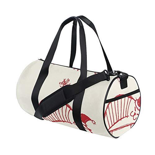 HARXISE Sporttasche Reisetasche,Weihnachtslustige Katze,Hut und hängenden Weihnachtsverzierungen der kleinen Fee im künstlerischen Stil Rot schläft,Schultergurt Handgepäck für Übernachtung Reisen