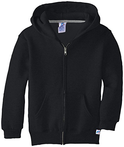 Russell Athletic Big Boys' Fleece Full Zip with Hood, Black, Large