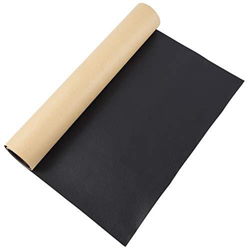 BENECREAT 0.6m 30cm PVC Cuero Autoadhesivo de Imitación Parche Negra de Reparación de Cuero Espesor de 0.8mm Cuero Impermeable para Reparación de Sofá, Bolso, Silla de Cuero
