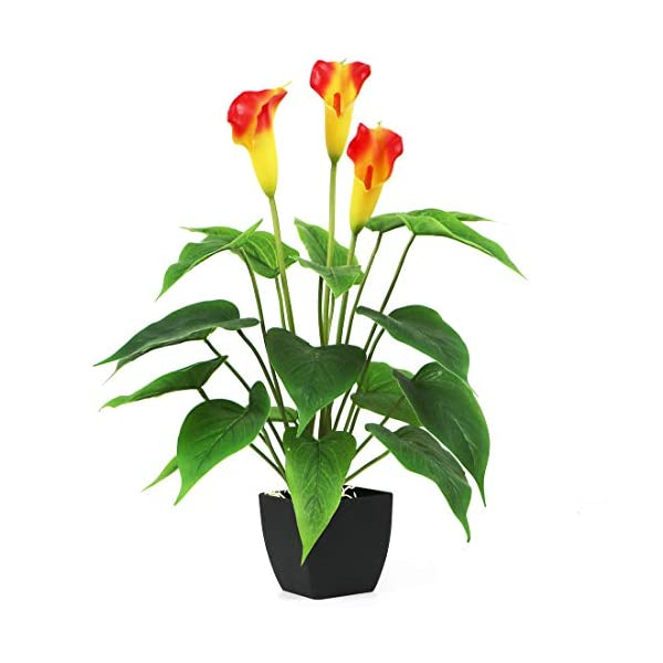 Bird Fiy Artificial Plants Flowers, Real Touch Fake Calla Lily Plant Greenery Shrubs Silk Flower for Wedding Bridle Bouquet Indoor Outdoor Home Kitchen Office Table Decor (Orange, 1Pcs/Black Pot)