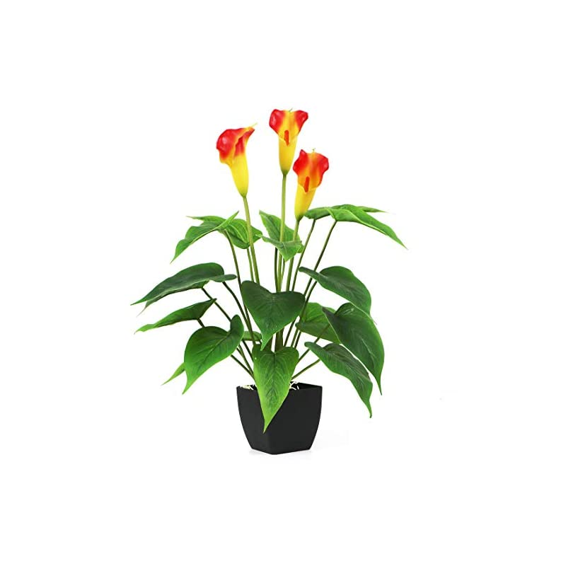 silk flower arrangements bird fiy artificial plants flowers, real touch fake calla lily plant greenery shrubs silk flower for wedding bridle bouquet indoor outdoor home kitchen office table decor (orange, 1pcs/black pot)