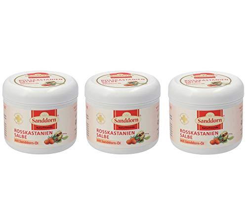 Naturfreunde Rosskastanien Salbe | je 250 ml Inhalt | mit Sanddorn-Öl | 3er
