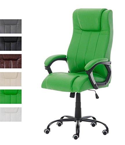 CLP Silla de Oficina Matador en Cuero PU I Silla Ejecutiva Moderna & Regulable en Altura I Silla de Ordenador con Ruedas I Color: Verde