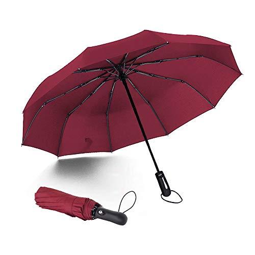 Paraguas plegable automático, 10 costillas paraguas compacto con botón de apertura y cierre automático, a prueba de viento e impermeable, perfecto para hombres y mujeres(rojo licor)
