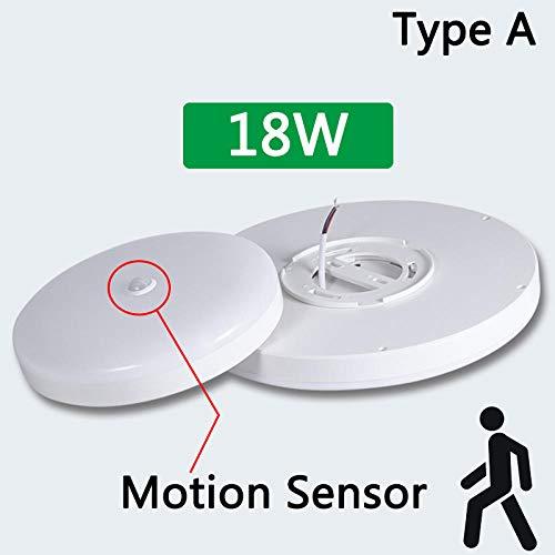 LED-plafondlamp met bewegingsmelder, plafondlamp, 12 W, 18 W, 30 W, 50 W, 220 V, voor thuis, slaapkamer, 18 W, bewegingsmelder, warmwit