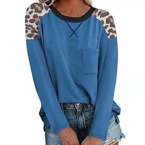 WDBK Señoras Nuevo Bolsillo Costura Top Camiseta de Mujer Casual de Manga Larga con Estampado de Leopardo Blusa de Cuello Redondo Sudaderas de Manga Larga Tops otoño