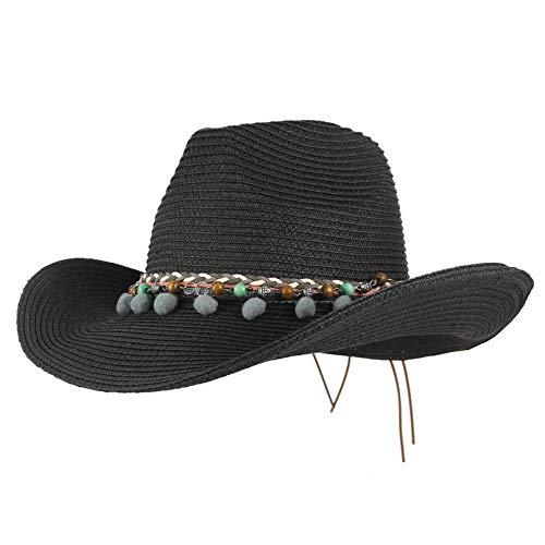 Cappelli Cappello da Sole Cappelli Estivi per Donna Outback Cappello di Paglia per Cappello da Cowboy Panama Sun Beach cap Black