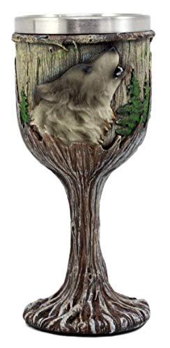 Taisuko Mystical Howling Grey Wolf Copa de cáliz de Vino de 7 oz en el diseño de...