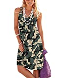 Jouica Women's Casual Swing Summer Dresses U-Neck T Shirt Dress with Pockets,Camouflage Army Green,XX-Large