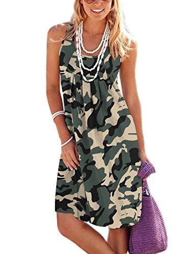 Jouica Bikini Swimsuit Swimwear Dresses for Women Beach Cover Up Cotton Crew Neck Dresses,Camouflage Army Green,Large
