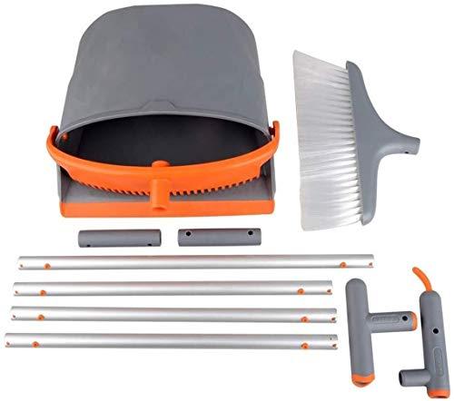 Saddpa Bezem en veegschep, met aangebrachte kam en veegschep, met lange steel, eenvoudige opslag voor reiniging