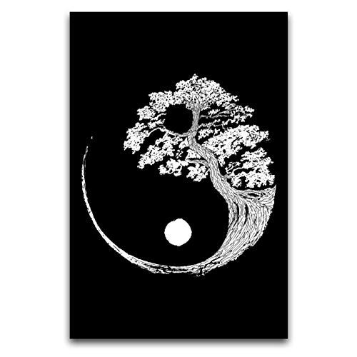Aibccr Nature Yin Yang Bonsai Tree Canvas Art Poster and Wall Art Picture Print Modern Family Bedroom Decor Posters12''×18''(30 x 45cm)