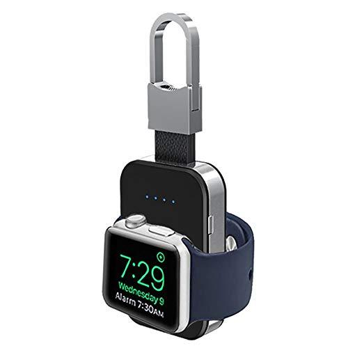 Tragbares, kabelloses Ladegerät für Apple Watch, Mini 950 mAh, externe Powerbank mit Schlüsselanhänger, Uhren-Ladegerät für Business, Reisen, schwarz
