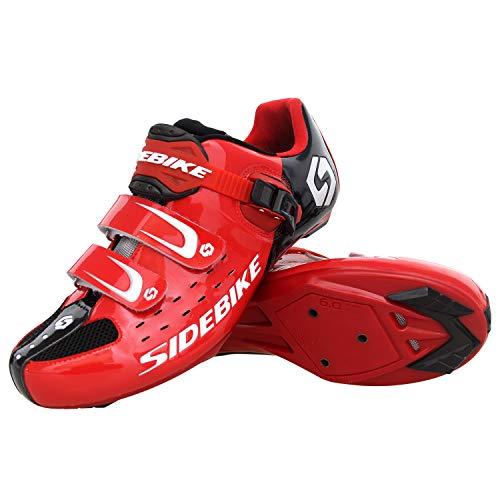 SIDEBIKE - Scarpe da ciclismo per adulti, con tacchetti per i pedali, in nylon traspirante con inserti in rete, Rosso (Rosso), 44 EU