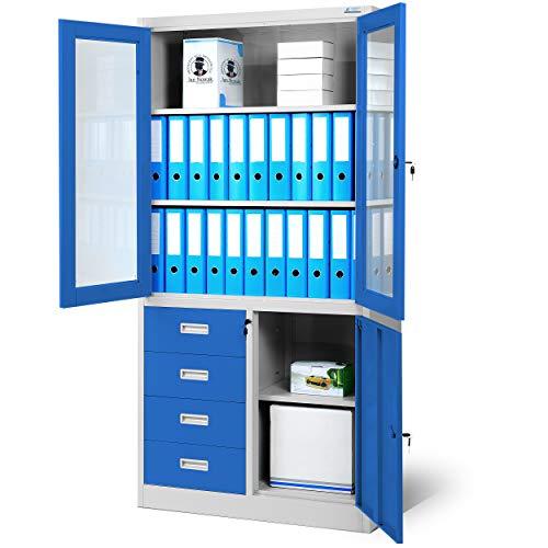 Jan Nowak Aktenschrank C042 Büroschrank Metallschrank Flügeltüren Schubladen Pulverbeschichtung Stahlblech 185 cm x 90 cm x 40 cm (H x B x T) (grau/blau)