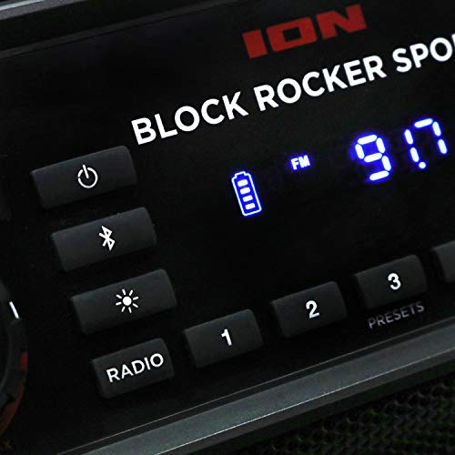 ION Audio Block Rocker Sport – 100 W Waterproof (IPX4) Outdoor Wireless Bluetooth Speaker with LED Light Bar, Radio, Aux…