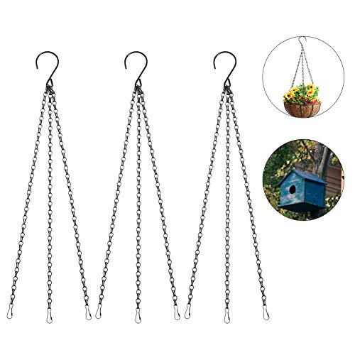 Dsaren 3 Set Colgador Plantas Metal Cadena Colgante Macetas con Ganchos y Clips para Comederos Pájaros, Maceta, Linternas, Campanas de Viento y Adornos