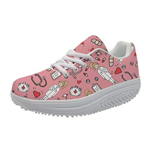 Showudesigns Damen Bequem Sneaker Schuhe Wedges Fitnessschuhe Shape-up Keile Plattform Walkingschuhe Krankenschwester Rosa EU38