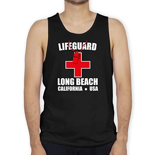 Shirtracer Karneval & Fasching - Lifeguard Kostüm Long Beach Trillerpfeife weiß rot - XXL - Schwarz - Fun - BCTM072 - Tanktop Herren und Tank-Top Männer