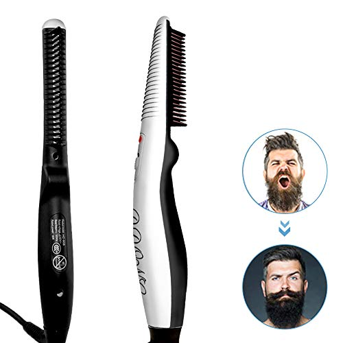 Beard Straightener Comb,Quick Electric Heated Beard Brush Beard Styler for Men, Travel Portable...