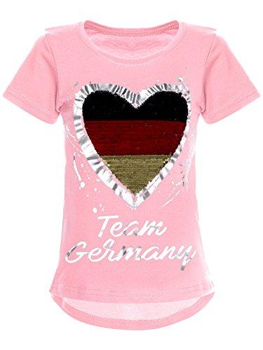 BEZLIT Deutschland Mädchen Wende-Pailletten WM 2018 Fan Fussball T Shirt 22512 Rosa Größe 104
