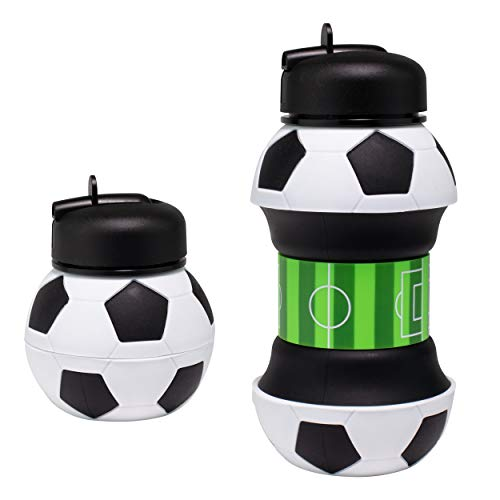 Maccabi Art Clip-On Collapsible BPA-Free Silicone Soccer Ball Water Bottle for Kids, 18 Oz. Size