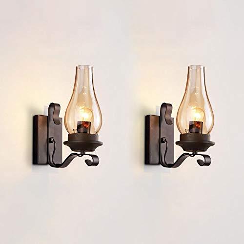 Lámpara industrial de la pared de la pared de la pared de la pared del vidrio del vintage industrial, lámpara de iluminación de pared interior retro para la sala de estar Loft Cafe Bar dormitorio luce