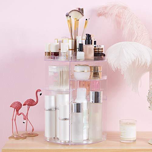 QCCOKNN Caja de almacenamiento cosmética de acrílico transparente Caja de almacenamiento desmontable multifuncional del maquillaje
