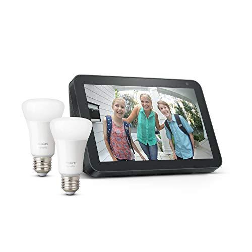 Echo Show 8 - Tessuto antracite +Lampadine intelligenti a LED Philips Hue White, confezione da 2 lampadine, compatibili con Bluetooth e Zigbee (non è necessario un hub)