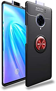 Durable Phone Case For Vivo NEX 3 Shockproof TPU Slim Protection Case With 360 Degree Rotating Finger Ring Holder (Color : Red+Black)